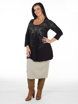 Hops Print Black Plus Size Tunic