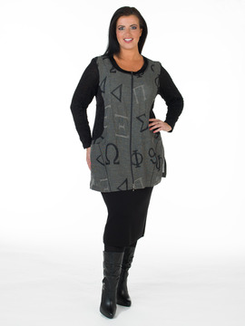 Zippered Grey & Black Tunic