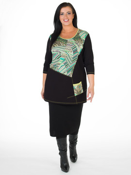 Green And Black Plus Size Tunic