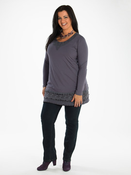 Purple Grey Tunic With Lace Detailing