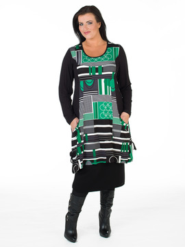 Green Jersey Patterned Tunic Dress