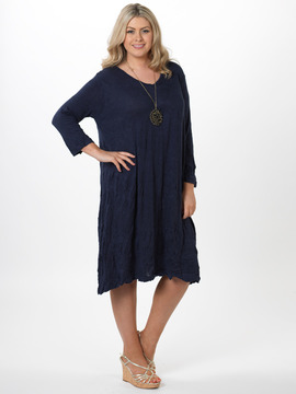 Crushed Navy Dress
