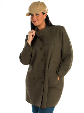3/4 Length Boiled Wool Coat