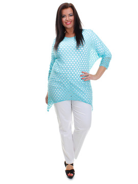 Aqua Batwing Fishnet Hole Top