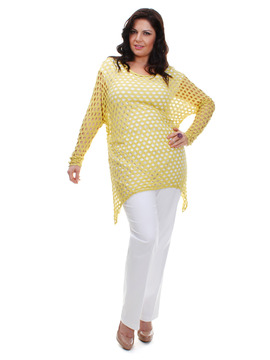 Yellow Batwing Fishnet Hole Top