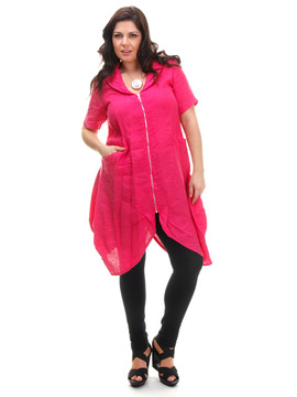 Fuchsia Linen Zip Dress