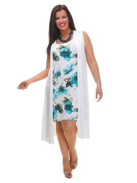 Turquoise & White Floral Print Dress