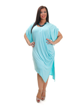 Turquoise Draped Dress