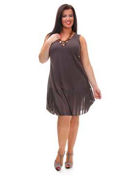 Brown Sleeveless Summer Dress