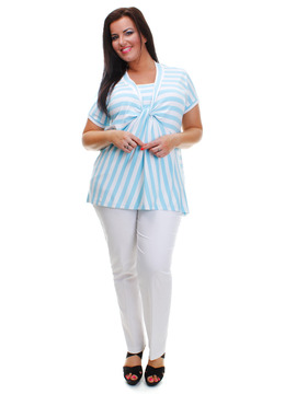 Gelco - Turquoise Striped Top
