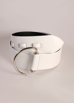 White Leather Hook Belt